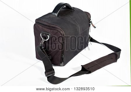 The rectangular black bag for the camera on a white background. Isolated