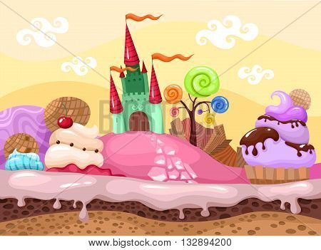 vector illustration with a colorful landscape with sweet desserts