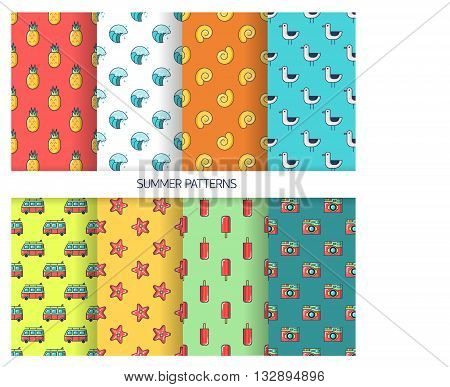 Set seamless patterns with tourism and summer objects and equipments - pineapple wave shell gull Mini Bus starfish ice cream camera. Can be used for web page backgrounds. For birthday anniversary party invitations scrapbooking T-shirt cards.