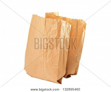 material paper bag isolated on white background