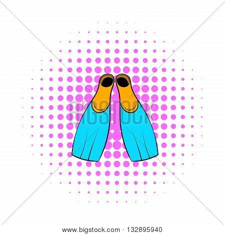 Blue flippers for diving and swimming icon in comics style isolated on white background