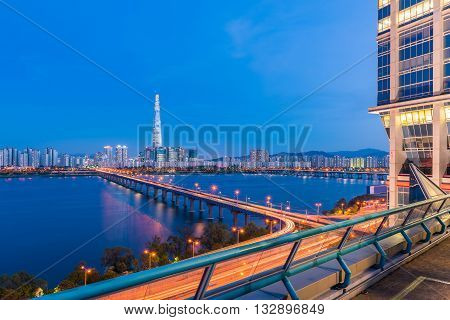 Seoul Subway And Seoul City Skyline At Han River Seoul, South Korea