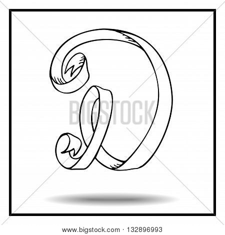 Ribbon alphabet. Ribbon letter. Ribbon D. Display ribbon font. Sketch ribbon latter D.