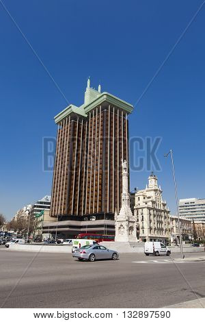 MADRID, SPAIN - MARCH 16, 2016: Plaza de Colon in Madrid. Torres de Colon is a high office building of twin towers at the Plaza de Colon in Madrid.