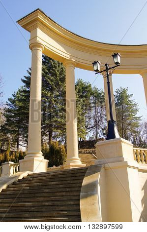 Historical and architectural complex with columns. Architecture and attractions of the city of Kislovodsk.