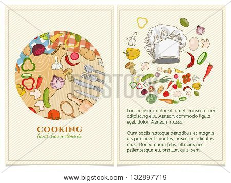 Cooking cookbook template hand drawn elements. Vector illustration