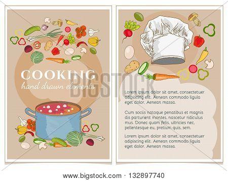 Cookbook vector illustration Cookbook template set vector