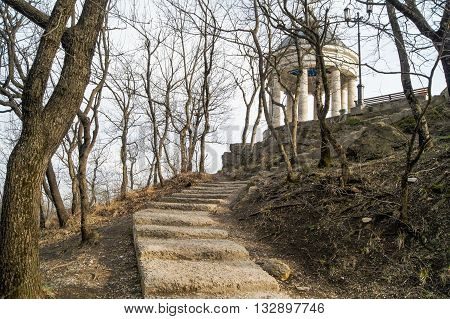 Stone stairs to the gazebo. Architecture and attractions of the city of Kislovodsk.