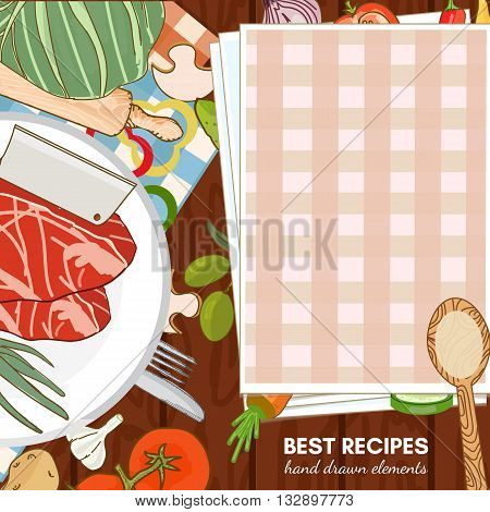 Cookbook cooking recipes cooking vector illustration set