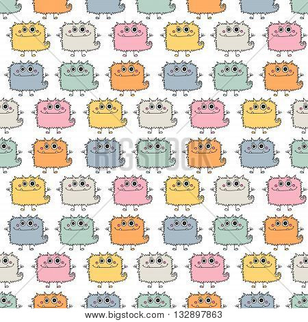 Cute monsters. Seamless pattern with fun doodle monsters. Colorfol vector background for kids.