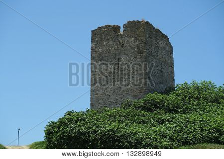 Sani Tower Halkidiki, Greece. Remains of tower standing on Sani Hill above the luxury resort is also known as Stavronikita tower.