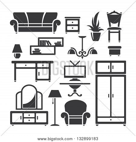 Set of home furniture symbols in vector
