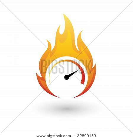 Speedometer symbol on fire isolated on white background