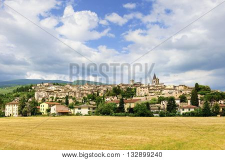 Cityscape on Spello in Italy in the province of Perugia in Umbria