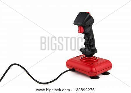 overwhite portrait of a vintage joystick with cable