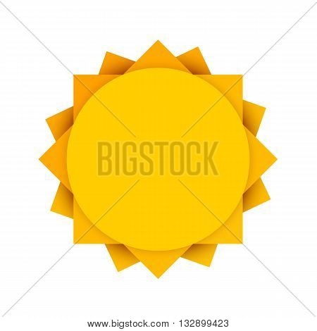 Abstract yellow sun. Clean sun icon. Summer sun. Sun on white background. Vector illustration.