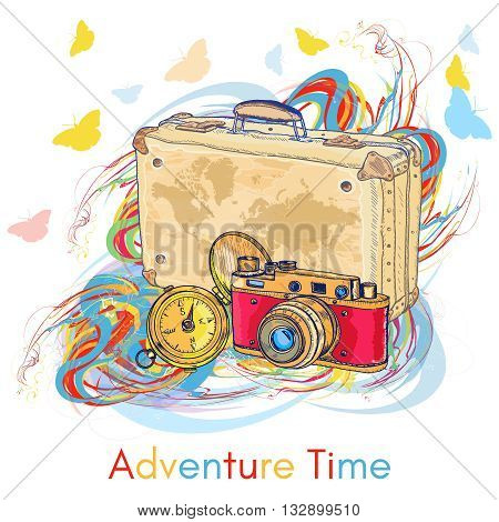 Adventure time old camera old compass old suitcase hand drawn vector illustration