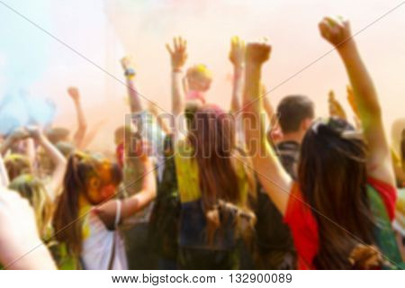 Blurred Dancing People No The Annual Holi Festival