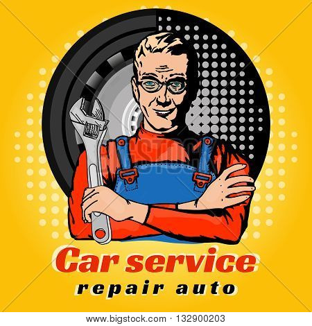 Car service repair auto pop art vector