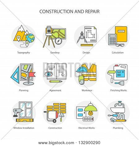 Flat line conceptual stages set icons, objects and tools. Preparation, construction and repair. Modern flat linear concept of the icon, symbol set for websites, mobile sites and applications.