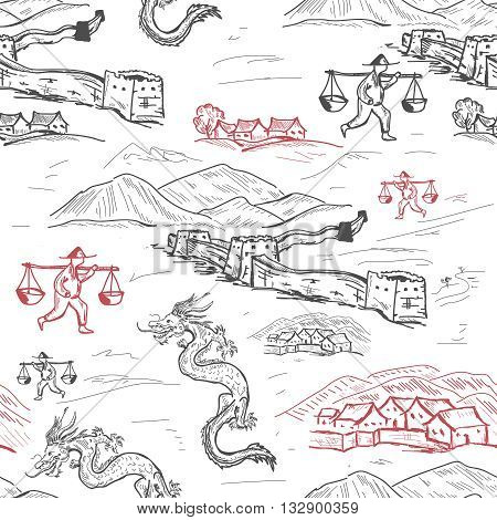 China seamless pattern China hand drawn vector