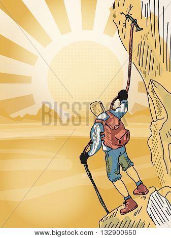 Rock climber man climbing the rock hand drawn vector