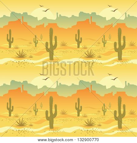 Seamless pattern with desert landscape and cacti in vector