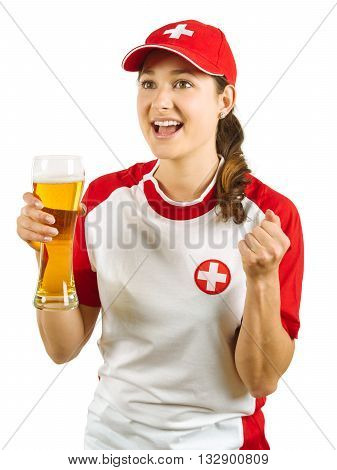 Photo of a Swiss sports fans holding a beer and cheering for her team isolated over white background.