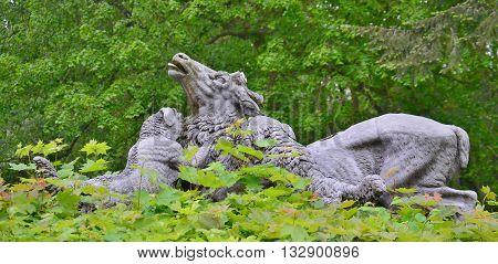 sculpture dogs hunt deer South Bohemia Czech Republic