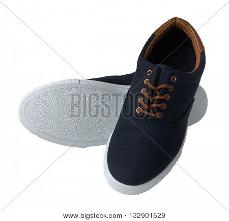 Pair of blue sneakers isolated on white background