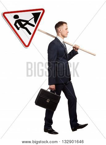 Official man carries a road sign Road works . Isolated on white background.