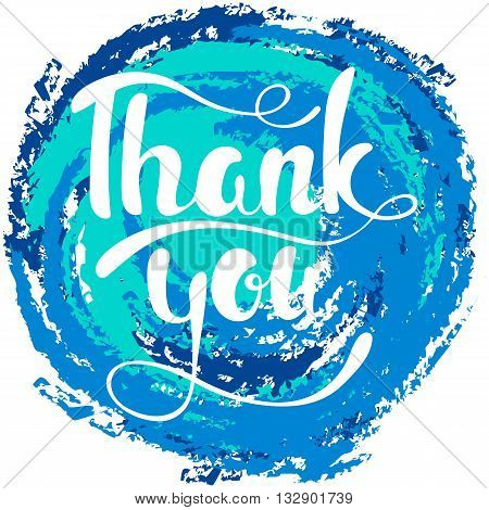 Thank you lettering. Hand written Thank you poster. Modern hand lettering. Modern Calligraphy. Vector illustration