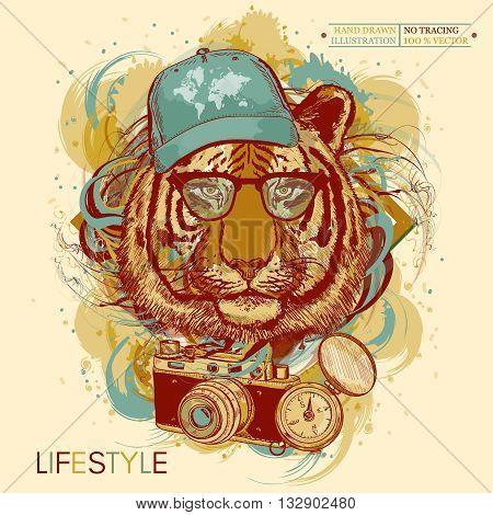 Tiger hipster hand drawn animal art print