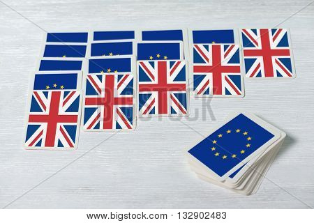 Brexit Uk Eu Referendum Will Solitaire Converge Concept, Close Up