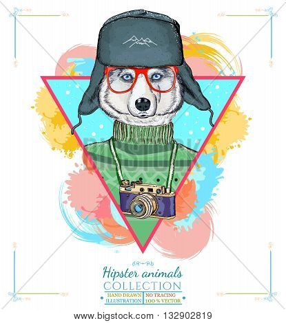 Portrait of fashion husky dog hipster animals hand drawn vector illustration