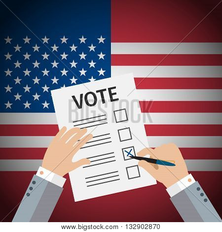 Concept of voting. Man write vote on elections. US Presidential election 2016. Flat design, vector illustration.