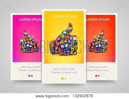 Thumb silhouette with many application icons banner set. Yes symbol. Social multimedia. Ok application icon. Vector illustration