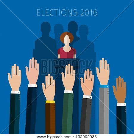 Concept of election. Hands raised up, election day campaign. Flat design, vector illustration.