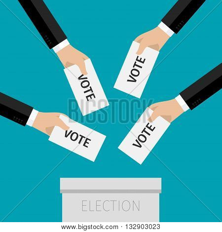Concept of election. Hands holding sheets of paper with voting paper, election day campaign. Flat design, vector illustration.