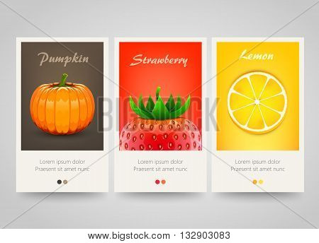 Modern colorful vertical fruit, vegetable and berry banners. Beautiful flyer set. Background with strawberry, orange and pumpkin. Vector illustration