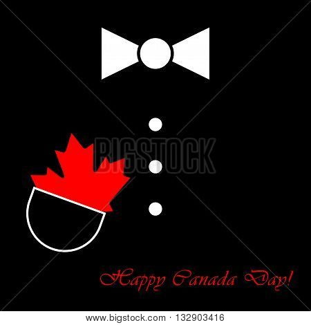 black suit with white bow tie buttons maple leaf in pocket and text
