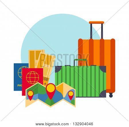 Travel suitcases symbols concept vector.