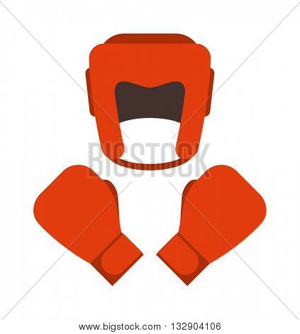 Red boxing gloves and helmet vector illustration