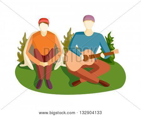 Guitar song vector illustration.