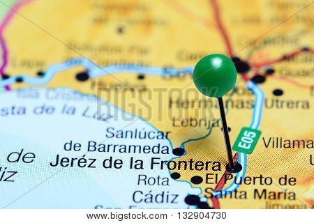 Jerez de la Frontera pinned on a map of Spain