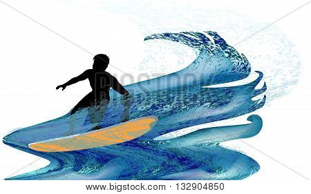 Silhouette of a surfer in turbulent waves