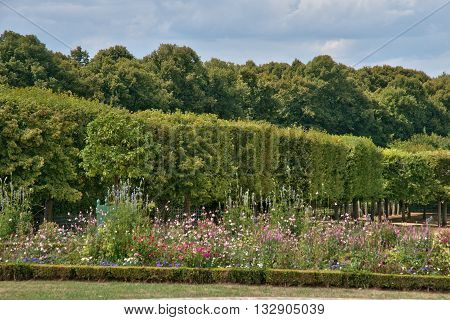 Versailles France - august 19 2015 : the Marie Antoinette estate in the park of Versailles Palace. garden of Grand Trianon