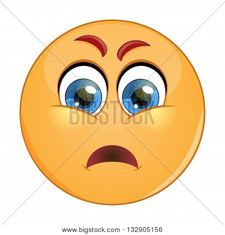 Grumpy emoticon. Isolated vector illustration on white background