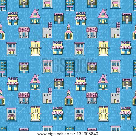 Seamless pattern with buildings. Cafe cinema store church apartment housecottageschool Hall factory