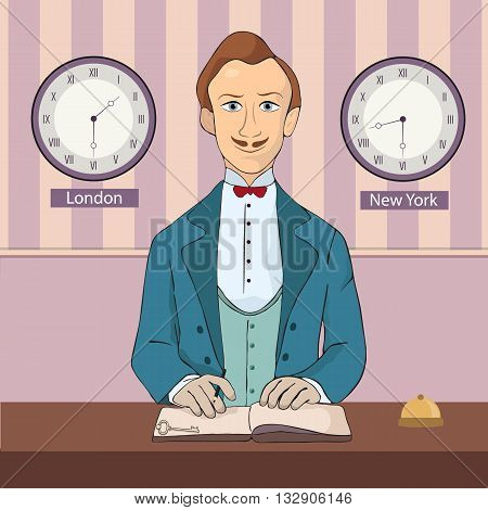 male receptionist standing at hotel reception vector
